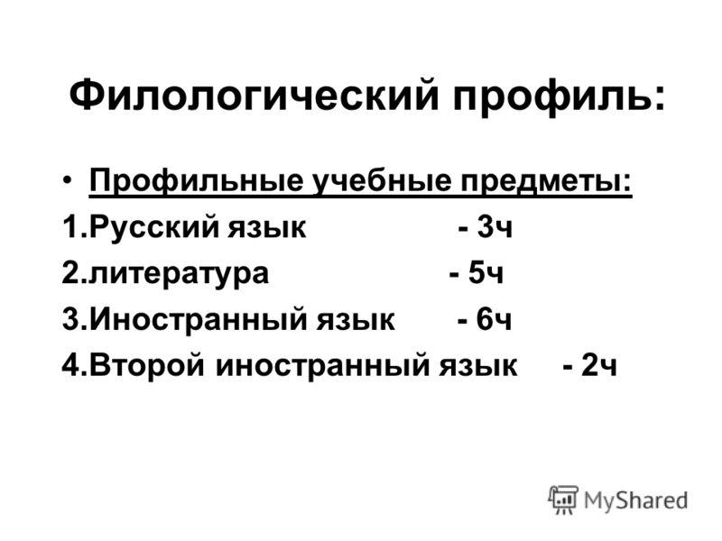 Филологический профиль: Профильные учебные предметы: 1.Русский язык - 3ч 2.литература - 5ч 3.Иностранный язык - 6ч 4.Второй иностранный язык - 2ч