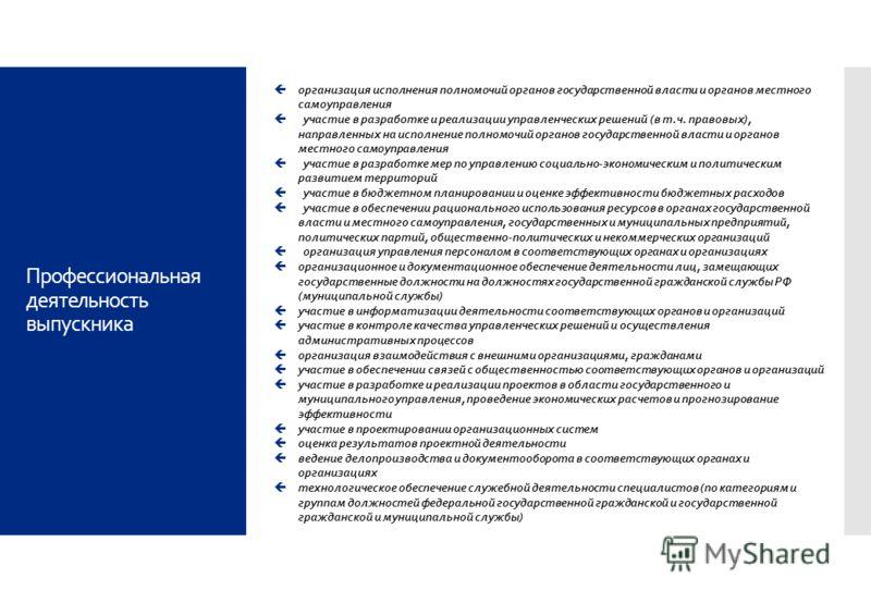 Профессиональная деятельность выпускника организация исполнения полномочий органов государственной власти и органов местного самоуправления участие в разработке и реализации управленческих решений (в т.ч. правовых), направленных на исполнение полномо