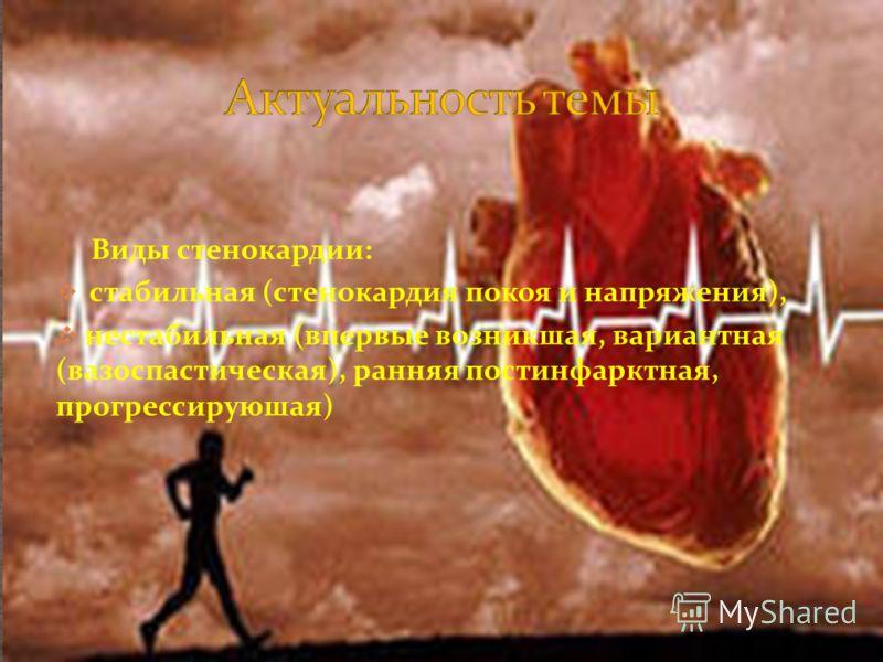 Виды стенокардии: стабильная (стенокардия покоя и напряжения), нестабильная (впервые возникшая, вариантная (вазоспастическая), ранняя постинфарктная, прогрессируюшая)