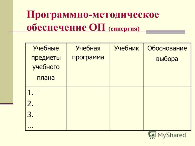 Программно-методическое обеспечение ОП (синергия) Учебные предметы учебного плана Учебная программа УчебникОбоснование выбора 1. 2. 3. …