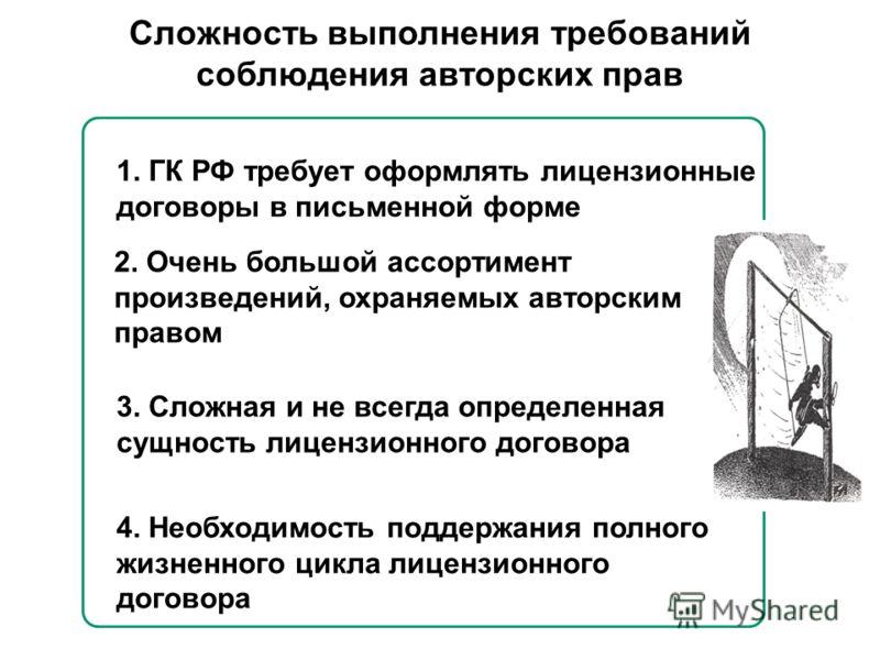 1. ГК РФ требует оформлять лицензионные договоры в письменной форме 2. Очень большой ассортимент произведений, охраняемых авторским правом 3. Сложная и не всегда определенная сущность лицензионного договора 4. Необходимость поддержания полного жизнен