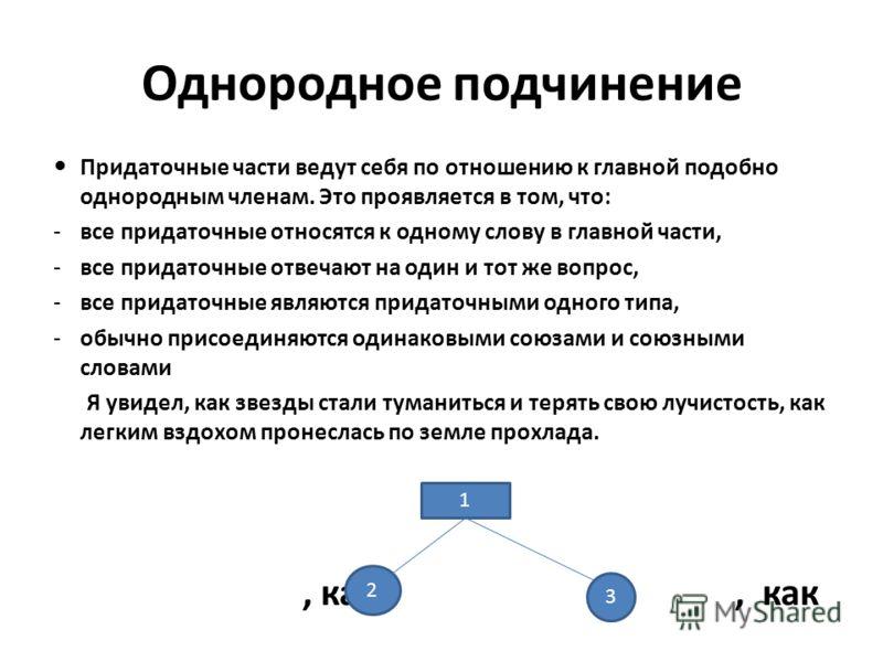 Однородное подчинение Придаточные части ведут себя по отношению к главной подобно однородным членам. Это проявляется в том, что: -все придаточные относятся к одному слову в главной части, -все придаточные отвечают на один и тот же вопрос, -все придат