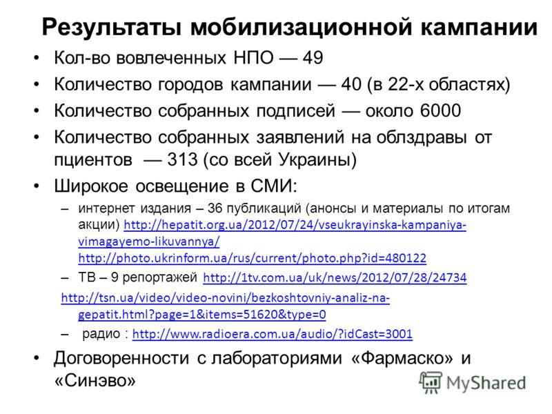 Результаты мобилизационной кампании Кол-во вовлеченных НПО 49 Количество городов кампании 40 (в 22-х областях) Количество собранных подписей около 6000 Количество собранных заявлений на облздравы от пциентов 313 (со всей Украины) Широкое освещение в