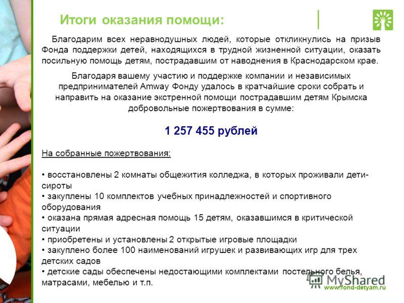www.fond-detyam.ru Итоги оказания помощи: Благодарим всех неравнодушных людей, которые откликнулись на призыв Фонда поддержки детей, находящихся в трудной жизненной ситуации, оказать посильную помощь детям, пострадавшим от наводнения в Краснодарском