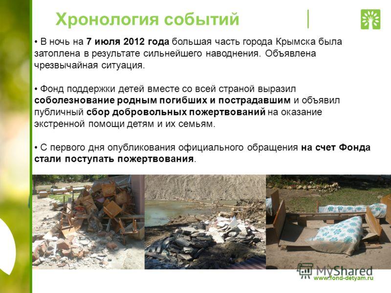 www.fond-detyam.ru Хронология событий В ночь на 7 июля 2012 года большая часть города Крымска была затоплена в результате сильнейшего наводнения. Объявлена чрезвычайная ситуация. Фонд поддержки детей вместе со всей страной выразил соболезнование родн