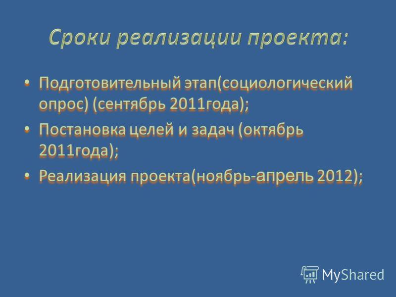 Подготовительный этап(социологический опрос) (сентябрь 2011года); Постановка целей и задач (октябрь 2011года); Реализация проекта(ноябрь- апрель 2012); Подготовительный этап(социологический опрос) (сентябрь 2011года); Постановка целей и задач (октябр