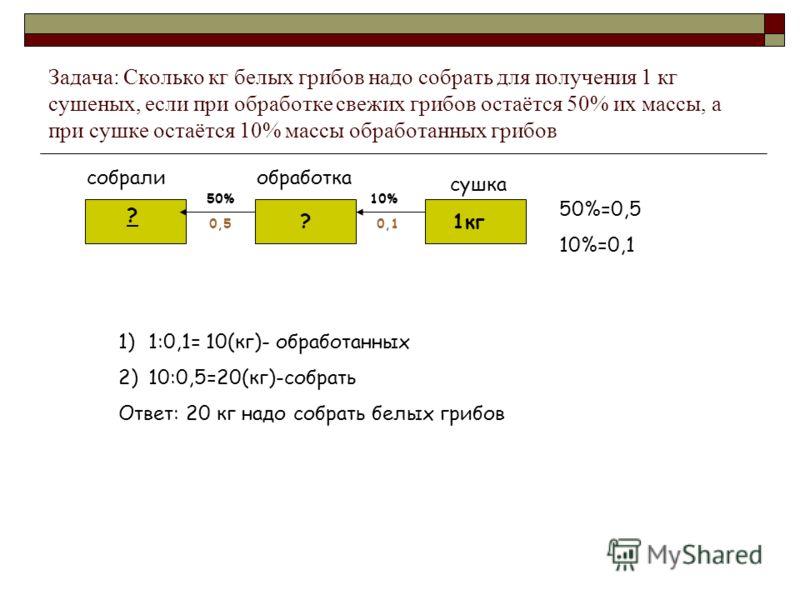 Задача: Сколько кг белых грибов надо собрать для получения 1 кг сушеных, если при обработке свежих грибов остаётся 50% их массы, а при сушке остаётся 10% массы обработанных грибов собралиобработка сушка 50%10% 0,50,1 50%=0,5 10%=0,1 1кг? ? 1)1:0,1= 1