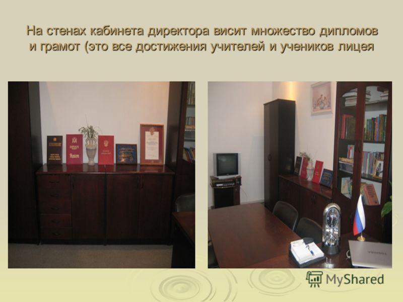 На стенах кабинета директора висит множество дипломов и грамот (это все достижения учителей и учеников лицея