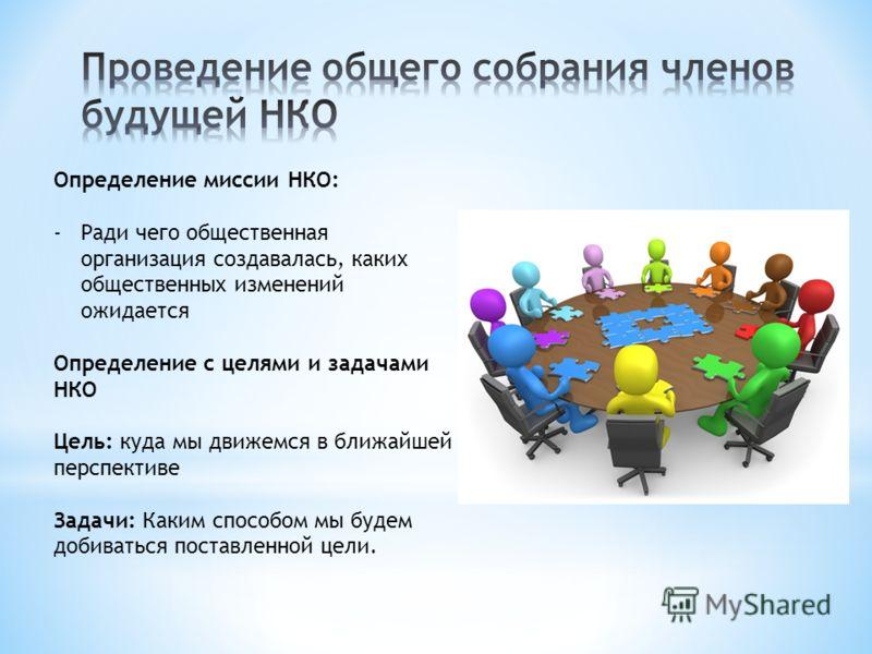 Определение миссии НКО: -Ради чего общественная организация создавалась, каких общественных изменений ожидается Определение с целями и задачами НКО Цель: куда мы движемся в ближайшей перспективе Задачи: Каким способом мы будем добиваться поставленной