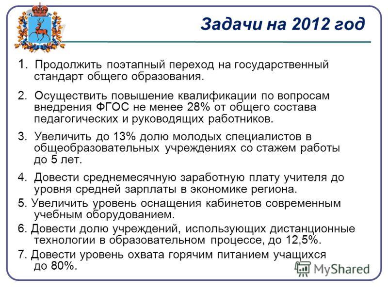 Задачи на 2012 год 1. Продолжить поэтапный переход на государственный стандарт общего образования. 2. Осуществить повышение квалификации по вопросам внедрения ФГОС не менее 28% от общего состава педагогических и руководящих работников. 3. Увеличить д