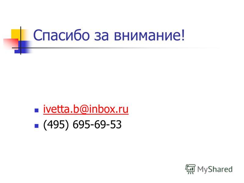 Спасибо за внимание! ivetta.b@inbox.ru (495) 695-69-53