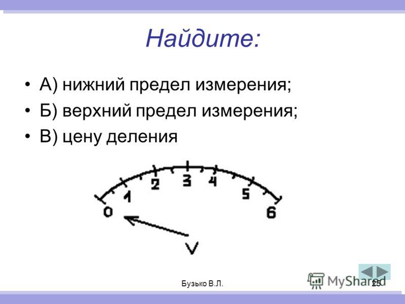 Бузько В.Л.25 Найдите: А) нижний предел измерения; Б) верхний предел измерения; В) цену деления