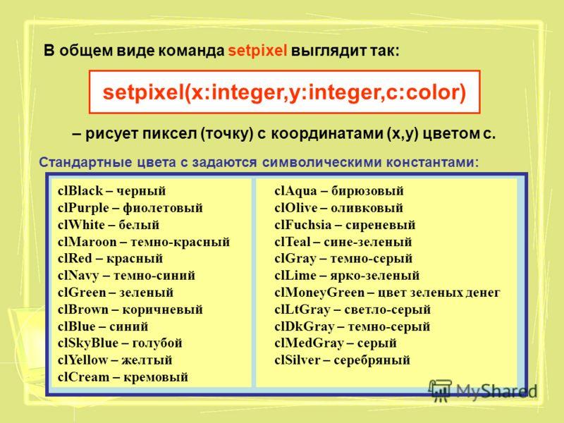 В общем виде команда setpixel выглядит так: setpixel(x:integer,y:integer,c:color) – рисует пиксел (точку) с координатами (х,у) цветом с. Стандартные цвета с задаются символическими константами: clBlack – черный clPurple – фиолетовый clWhite – белый c