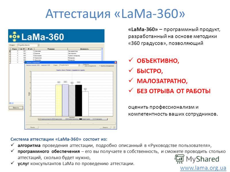 Аттестация «LaMa-360» «LaMa-360» – программный продукт, разработанный на основе методики «360 градусов», позволяющий ОБЪЕКТИВНО, БЫСТРО, МАЛОЗАТРАТНО, БЕЗ ОТРЫВА ОТ РАБОТЫ оценить профессионализм и компетентность ваших сотрудников. Система аттестации