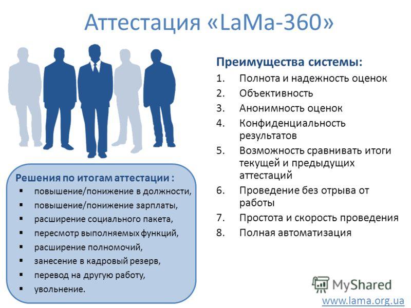 Аттестация «LaMa-360» Решения по итогам аттестации : повышение/понижение в должности, повышение/понижение зарплаты, расширение социального пакета, пересмотр выполняемых функций, расширение полномочий, занесение в кадровый резерв, перевод на другую ра