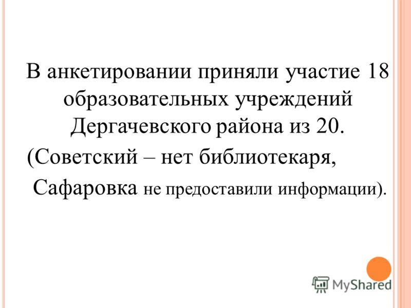 В анкетировании приняли участие 18 образовательных учреждений Дергачевского района из 20. (Советский – нет библиотекаря, Сафаровка не предоставили информации).