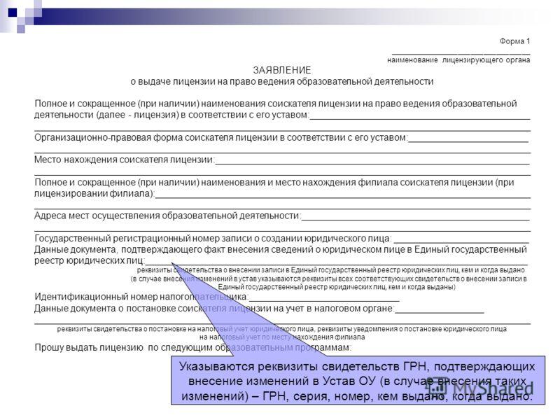 Форма 1 _________________________________ наименование лицензирующего органа ЗАЯВЛЕНИЕ о выдаче лицензии на право ведения образовательной деятельности Полное и сокращенное (при наличии) наименования соискателя лицензии на право ведения образовательно