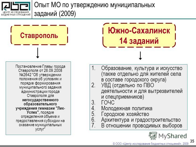 © ООО «Центр исследования бюджетных отношений», 2009 35 Постановление Главы города Ставрополя от 26.09.2008 2642