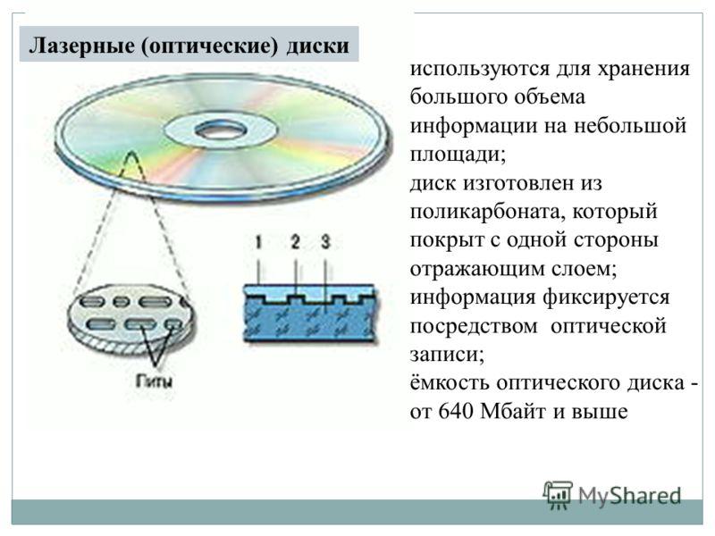 используются для хранения большого объема информации на небольшой площади; диск изготовлен из поликарбоната, который покрыт с одной стороны отражающим слоем; информация фиксируется посредством оптической записи; ёмкость оптического диска - от 640 Мба