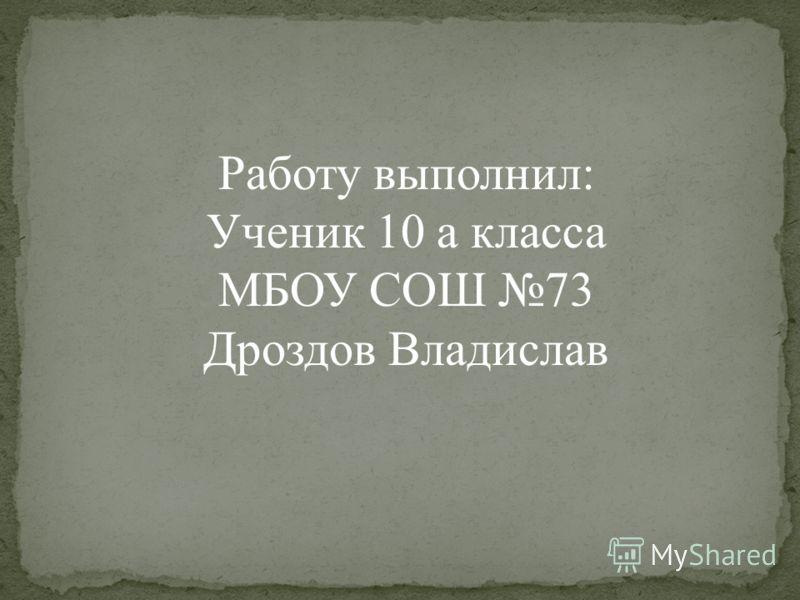 Работу выполнил: Ученик 10 а класса МБОУ СОШ 73 Дроздов Владислав