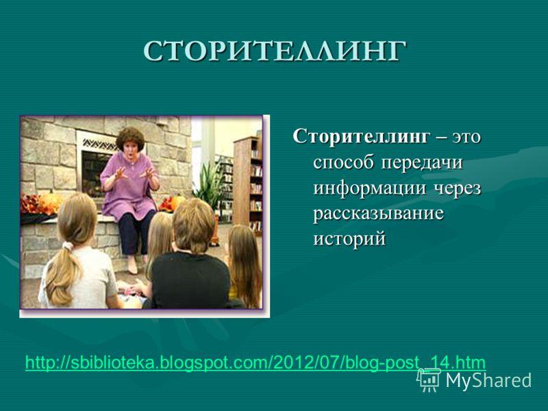 СТОРИТЕЛЛИНГ Сторителлинг – это способ передачи информации через рассказывание историй http://sbiblioteka.blogspot.com/2012/07/blog-post_14.htm