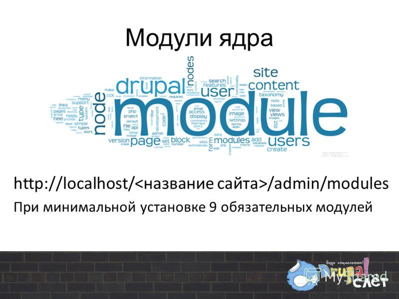 Модули ядра http://localhost/ /admin/modules При минимальной установке 9 обязательных модулей