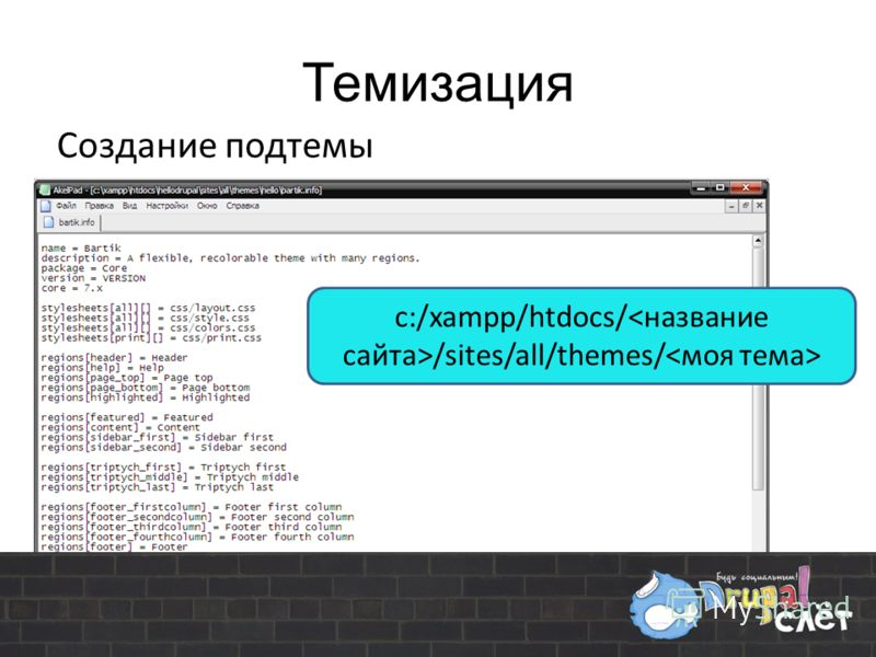 Темизация Создание подтемы с:/xampp/htdocs/ /sites/all/themes/