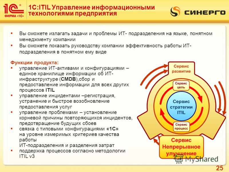 25 Функции продукта: управление ИТ-активами и конфигурациями – единое хранилище информации об ИТ- инфраструктуре (CMDB),сбор и предоставление информации для всех других процессов ITIL управление инцидентами –регистрация, устранение и быстрое возобнов