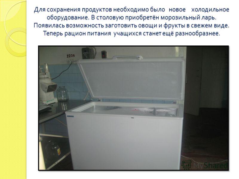 Для сохранения продуктов необходимо было новое холодильное оборудование. В столовую приобретён морозильный ларь. Появилась возможность заготовить овощи и фрукты в свежем виде. Теперь рацион питания учащихся станет ещё разнообразнее.