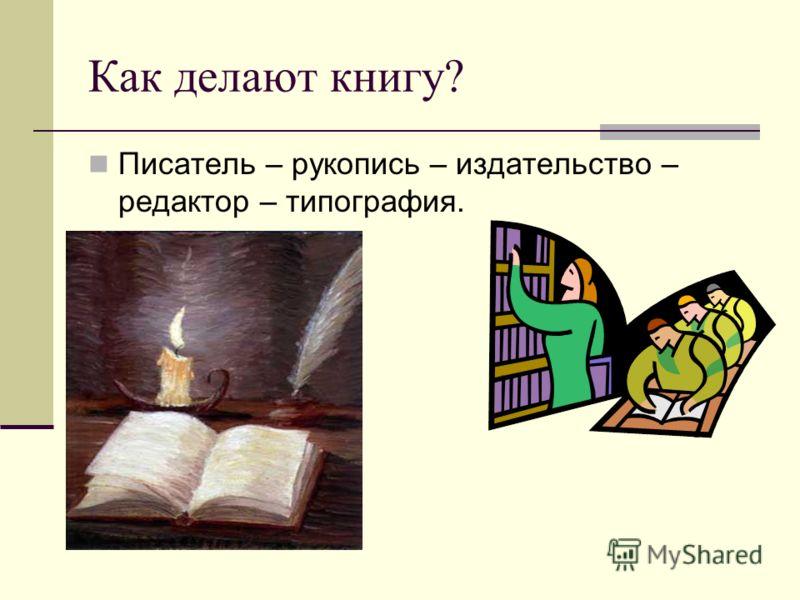Как делают книгу? Писатель – рукопись – издательство – редактор – типография.
