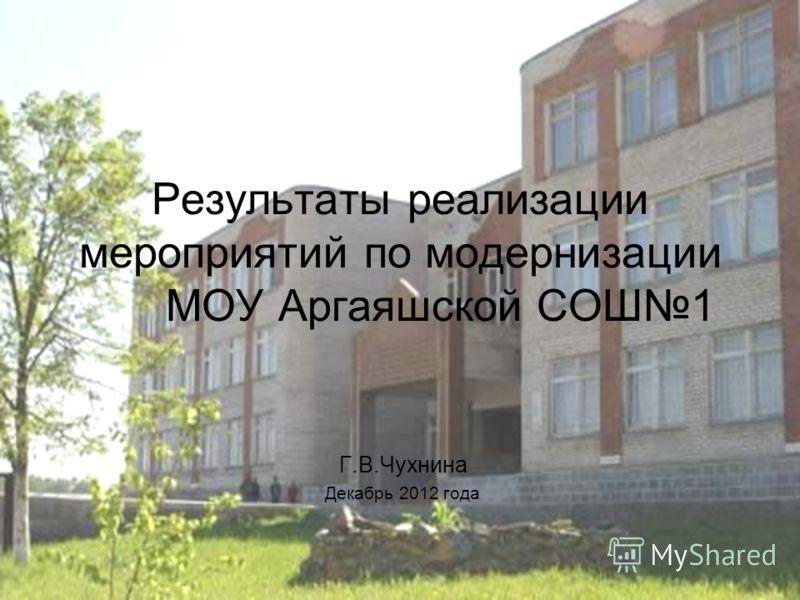 Результаты реализации мероприятий по модернизации МОУ Аргаяшской СОШ1 Г.В.Чухнина Декабрь 2012 года
