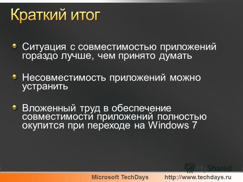 Microsoft TechDayshttp://www.techdays.ru Ситуация с совместимостью приложений гораздо лучше, чем принято думать Несовместимость приложений можно устранить Вложенный труд в обеспечение совместимости приложений полностью окупится при переходе на Window