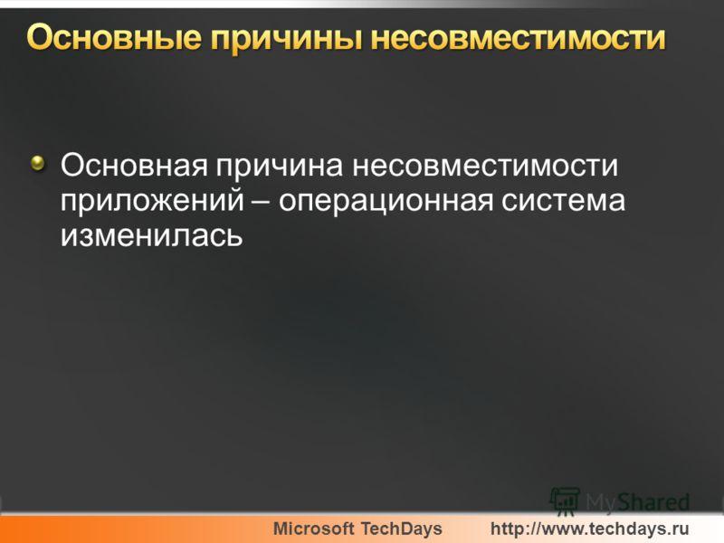 Microsoft TechDayshttp://www.techdays.ru Основная причина несовместимости приложений – операционная система изменилась