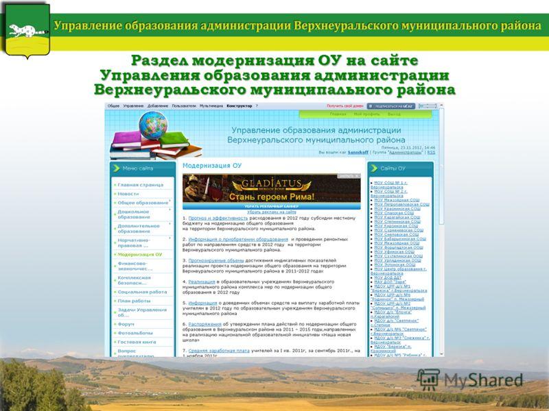 Раздел модернизация ОУ на сайте Управления образования администрации Верхнеуральского муниципального района