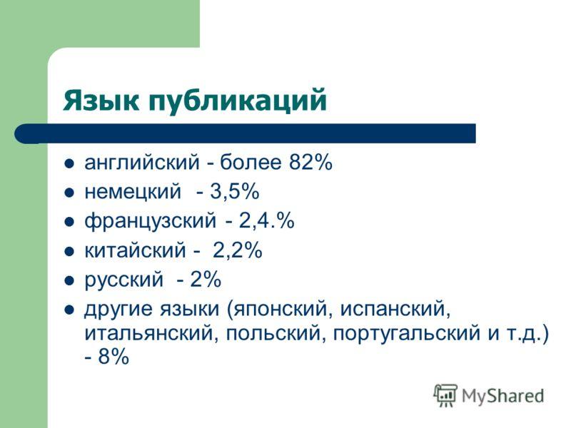 Язык публикаций английский - более 82% немецкий - 3,5% французский - 2,4.% китайский - 2,2% русский - 2% другие языки (японский, испанский, итальянский, польский, португальский и т.д.) - 8%