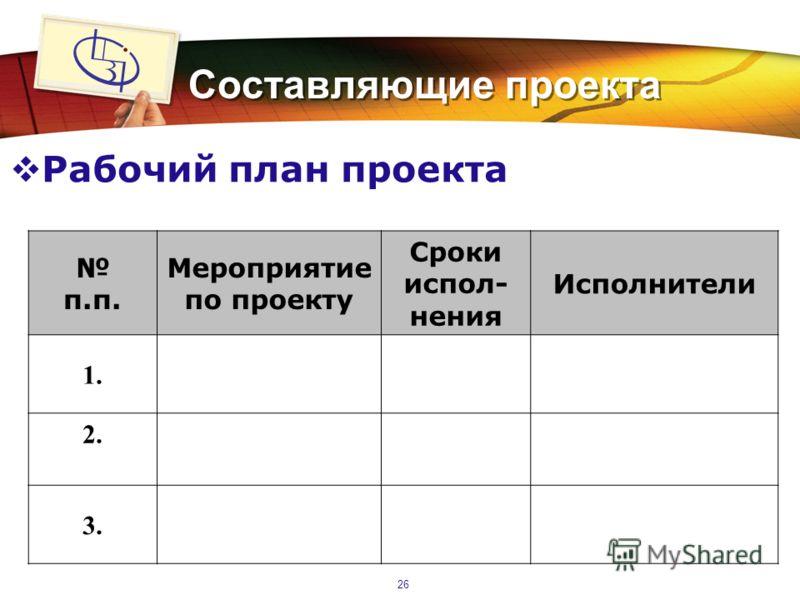 LOGO 26 Составляющие проекта Рабочий план проекта п.п. Мероприятие по проекту Сроки испол- нения Исполнители 1. 2. 3.