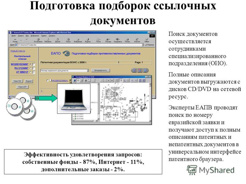 Подготовка подборок ссылочных документов Поиск документов осуществляется сотрудниками специализированного подразделения (ОИО). Полные описания документов выгружаются с дисков CD/DVD на сетевой ресурс. Эксперты ЕАПВ проводят поиск по номеру евразийско