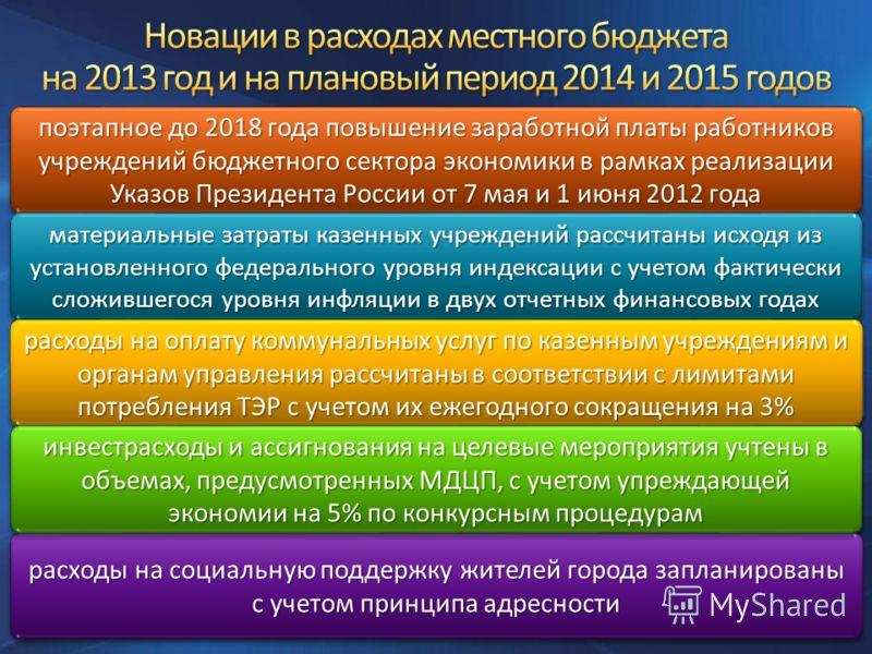 поэтапное до 2018 года повышение заработной платы работников учреждений бюджетного сектора экономики в рамках реализации Указов Президента России от 7 мая и 1 июня 2012 года материальные затраты казенных учреждений рассчитаны исходя из установленного