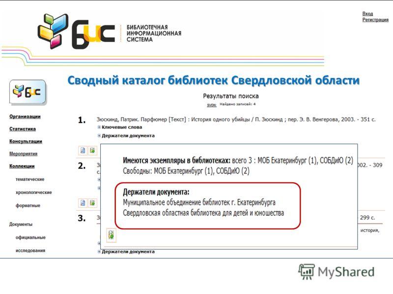 Сводный каталог библиотек Свердловской области
