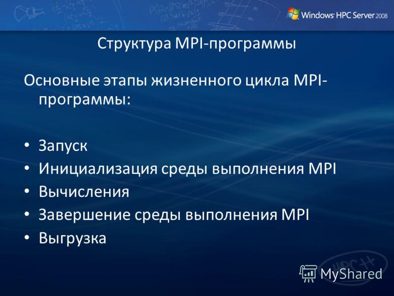 Основные этапы жизненного цикла MPI- программы: Запуск Инициализация среды выполнения MPI Вычисления Завершение среды выполнения MPI Выгрузка