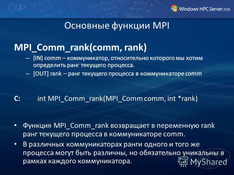 Основные функции MPI MPI_Comm_rank(comm, rank) – [IN] comm – коммуникатор, относительно которого мы хотим определить ранг текущего процесса. – [OUT] rank – ранг текущего процесса в коммуникаторе comm C:int MPI_Comm_rank(MPI_Comm comm, int *rank) Функ