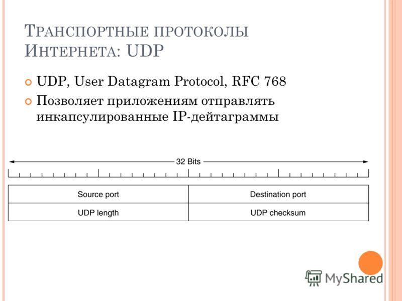 Т РАНСПОРТНЫЕ ПРОТОКОЛЫ И НТЕРНЕТА : UDP UDP, User Datagram Protocol, RFC 768 Позволяет приложениям отправлять инкапсулированные IP-дейтаграммы