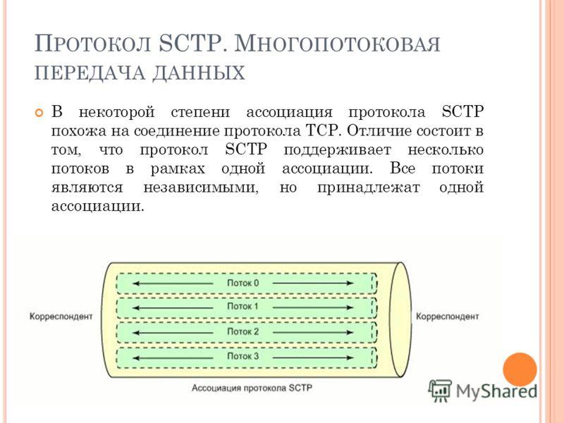 П РОТОКОЛ SCTP. М НОГОПОТОКОВАЯ ПЕРЕДАЧА ДАННЫХ В некоторой степени ассоциация протокола SCTP похожа на соединение протокола TCP. Отличие состоит в том, что протокол SCTP поддерживает несколько потоков в рамках одной ассоциации. Все потоки являются н