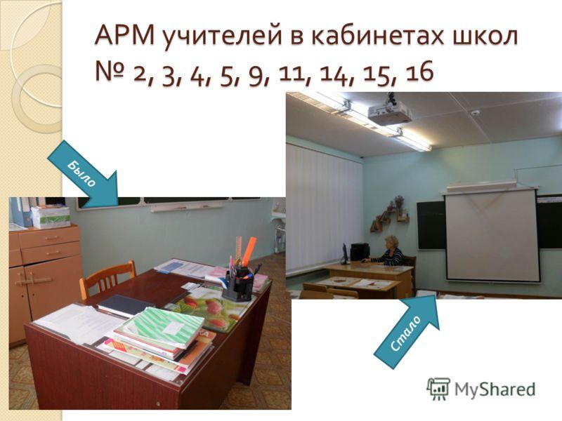 АРМ учителей в кабинетах школ 2, 3, 4, 5, 9, 11, 14, 15, 16 Было Стало
