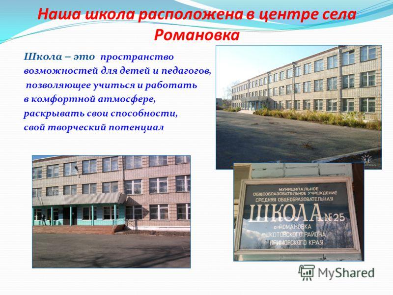 Наша школа расположена в центре села Романовка Школа – это пространство возможностей для детей и педагогов, позволяющее учиться и работать в комфортной атмосфере, раскрывать свои способности, свой творческий потенциал