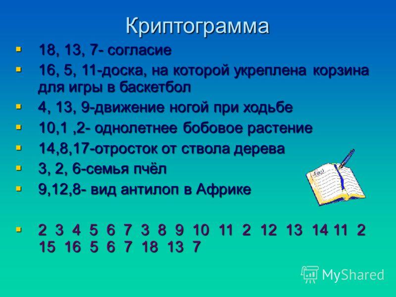 Криптограмма 18, 13, 7- согласие 16, 5, 11-доска, на которой укреплена корзина для игры в баскетбол 4, 13, 9-движение ногой при ходьбе 10,1,2- однолетнее бобовое растение 14,8,17-отросток от ствола дерева 3, 2, 6-семья пчёл 9,12,8- вид антилоп в Афри