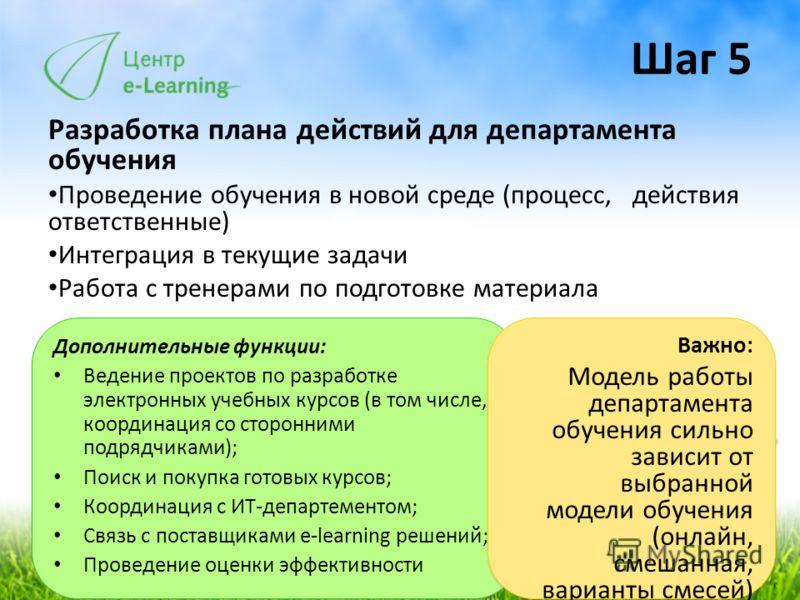 Шаг 5 Разработка плана действий для департамента обучения Проведение обучения в новой среде (процесс, действия ответственные) Интеграция в текущие задачи Работа с тренерами по подготовке материала Дополнительные функции: Ведение проектов по разработк
