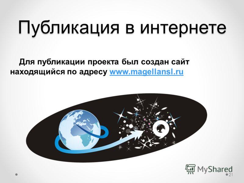Публикация в интернете Для публикации проекта был создан сайт находящийся по адресу www.magellansl.ru.www.magellansl.ru 21