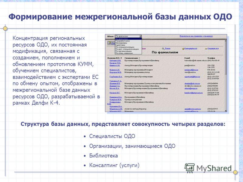 Формирование межрегиональной базы данных ОДО Концентрация региональных ресурсов ОДО, их постоянная модификация, связанная с созданием, пополнением и обновлением прототипов КУММ, обучением специалистов, взаимодействием с экспертами ЕС по обмену опытом