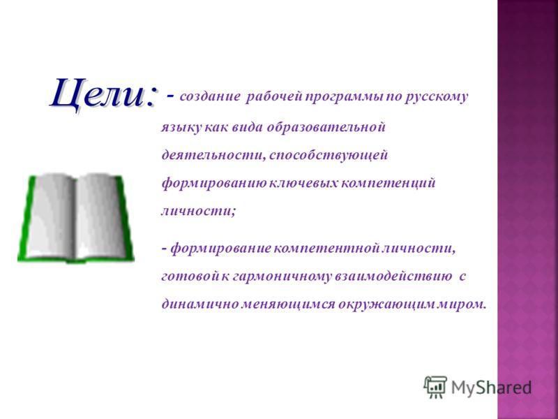 - создание рабочей программы по русскому языку как вида образовательной деятельности, способствующей формированию ключевых компетенций личности; - формирование компетентной личности, готовой к гармоничному взаимодействию с динамично меняющимся окружа